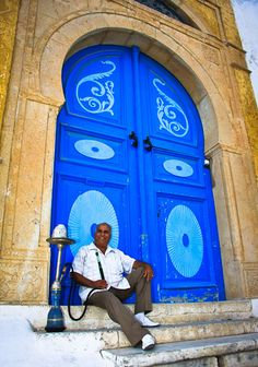 The blue door makes a perfect Hookah smoking spot. What could be more perfect?
