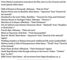 Song list from Impressions de France, Epcot