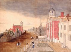 American Schoolgirl Art: Attributed to Anna M. Bucknam, Congress Street, Portland in 1824, Portland, Me., 1832. Watercolor on paper. Courtesy, Maine Historical Society and Maine State Museum (1998.30.1). The city served as the state capital after Maine separated from Massachusetts in 1820 until 1832. The new state house, the white classical building on the right, sits next to the Cumberland County Court House. The Portland Academy, another of the city's notable private schools,