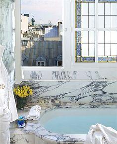 Le Meurice Hotel, Paris, Bathroom with Montmartre view Le Meurice, Palaces, Rue Rivoli, Tuileries Paris, Saint Chapelle, Place Vendôme, Louvre, Paris Hotels, Places
