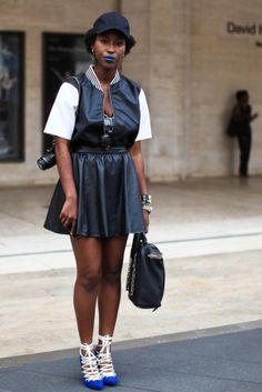 Baseball Caps+Leather | Athanaelle Paul, stylist (H skirt, Rainbow distressed top, DIY shoes, Alexandar Wang bag) | Essence Magazine Street Style (NYFW SS13)