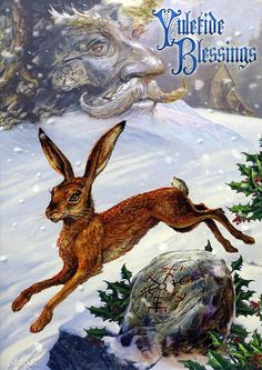 Midwinter Rune Hare Christmas Card - Yule/Winter Solstice - Cards by Occasion / Recipient - Home - Fairy and gothic cards, new age/pagan car...