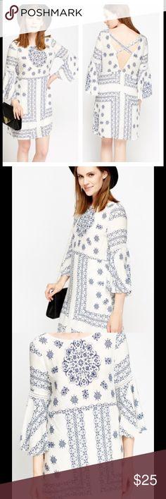🌸COMING SOON🌸 NWT Boho Dress Sz M Cross Back Printed Dress   - 100% Cotton - Length : 36'' (Shoulder To Hem) - Model Wears Size Small Dresses Long Sleeve