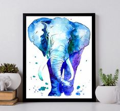 Elephant Watercolor art, animal watercolor painting, elephant wall decor, animal painting watercolor by Tetiana