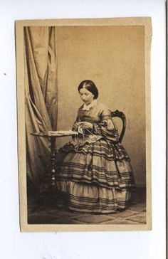 Unidentified CDV, woman knitting, ca. late 1850s. | In the Swan's Shadow