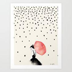Polka Rain Art Print by Karen Hofstetter | Society6