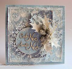 Christmas card handmade, pinecones