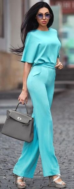 #summer #flawless #outfitideas |  Teal Silk Set