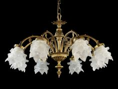 Spanish Brass & Glass Chandelier c1950 Vintage Antique Ornate French Style Light picclick.com