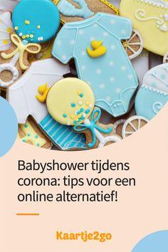 Heeft corona je leuke babyshower plannen in het water laten vallen? Wij geven tips om er online toch een gezellig feestje van te maken! Babyshower, Water, Desserts, Corona, Gripe Water, Tailgate Desserts, Deserts, Baby Shower, Postres
