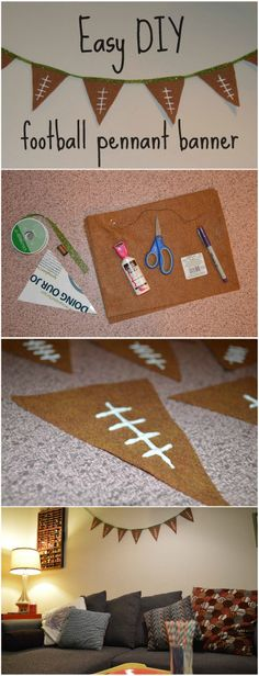 Easy DIY Football Pennant Banner, perfect for the Super Bowl! Go Broncos! : Easy DIY Football Pennant Banner, perfect for the Super Bowl! Go Broncos! Football Birthday, Sports Birthday, Sports Party, Birthday Party Games, Diy Birthday, Birthday Recipes, Birthday Ideas, Birthday Basket, Birthday Table