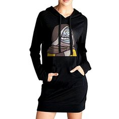 Elva Women Pockets Tunic Top Cryptarch Sweatshirt Dress S Black * Want to know more, click on the image. (This is an affiliate link) #ExerciseandFitnessWomensClothing