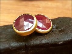 Ruby earrings-stud earrings-18k gold earrings-red ruby by CJbijoux