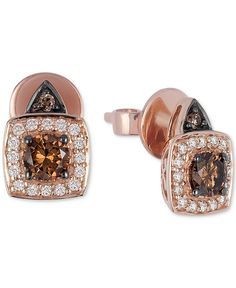 Le Vian Chocolatier Chocolate And White Diamond Earrings 5 8 Ct T W
