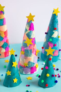 Oh Christmas Tree, Oh Christmas Tree! We are turning foam cones into the cutest. - Happy Christmas - Noel 2020 ideas-Happy New Year-Christmas Preschool Christmas Crafts, Christmas Activities, Christmas Crafts For Kids, Diy Crafts For Kids, Holiday Crafts, Christmas Decorations, Christmas Tree Design, Colorful Christmas Tree, Christmas Art