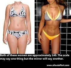 Just as a pound of feathers will look different from a pound of granite, so will a pound of muscle to a pound of fat. Fitness is more than a number on a scale. Two people may weigh the same, be the same height, but be in completely different shapes.