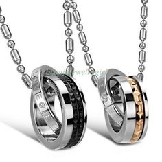 Stainless Steel Eternal Love Interlocking Double Rings Pendant Promise Necklace #Unbranded #Pendant