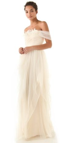 hello gorgeous.... white wedding gown Love, Yu Off Shoulder Tulle Gown
