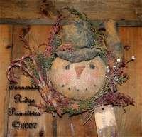 Primitive Christmas Snowman Head With Crow Wreath Door Hanger Epattern