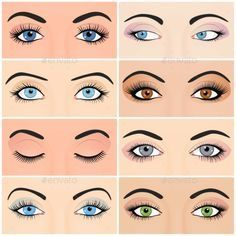 Set of female eyes and brows image with beautifully fashion make up. Vector illu Undercut Long Hair Beautifully BROWS Eyes Fashion female illu Image SET Vector
