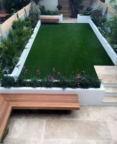 urban low maintenance garden raised render block beds artificial fake easi grass travertine beige cream paving hardwood screen and bench balham clapham battersea dulwich london