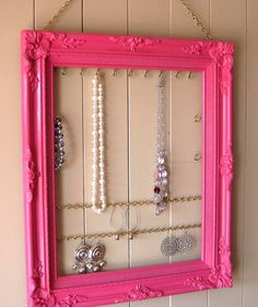 Jewelry Display and  Organizer in Berry Pink  Wood Frame  Necklaces Earrings Bracelets   Closet & Dorm Room Organization Ornate Wood Frame