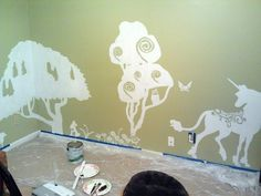 Last Unicorn Nursery (WIP) This would be perfect with shawns Twig Chandelier idea. The one that shadows a forrest..