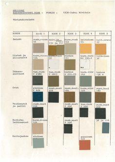 Helsinki city designated color schemes for  1930's Functionalism era buildings.