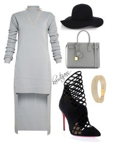 Grey affair by kourtniann on Polyvore featuring polyvore, fashion, style, Rick Owens, Christian Louboutin, Yves Saint Laurent, Swarovski, Alexis Bittar, Warehouse, clothing, asymmetrical and jerseydress