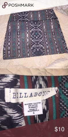 Billabong bodycon skirt Tribal print bodycon skirt. Tight fit. Super cute!! Only wore this once or twice. 😊 Always willing to negotiate on anything in my closet. Billabong Skirts Mini