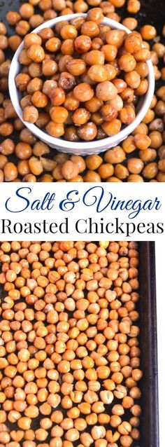 Salt and Vinegar Roasted Chickpeas are a quick and delicious healthy snack or appetizer that tastes like your favorite salty, crunchy and sour chips! www.nutritionistreviews.com