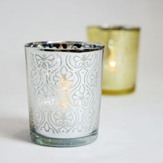 Spade Votive Tea Light Glass Candle Holder - Silver (2.5 Inches) (6 PACK)
