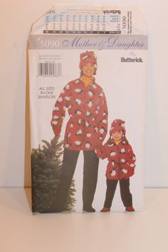 5090 Butterick MOTHER & DAUGHTER Sewing Pattern  XS-L JACKET PANTS HAT Uncut