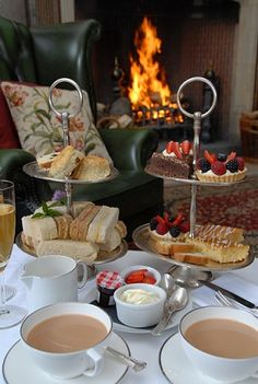 #MyInterfloraMum afternoon tea in front of a cozy fireplace in the winter