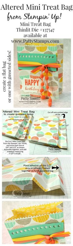Altered Mini Treat Bag Big Shot die from Stampin' Up! - create gusseted sides from the flat bag thinlits die in the Occasions 2015 catalog. tutorial by Patty Bennett #stampinup #goodiebag #bigshot