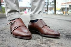 Double Monks Brown. Grey on dark brown monks takes casual to a whole new level.