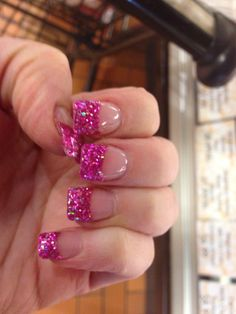 Cool sparkly French tip nails