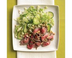 This recipe for Asian steak salad with cucumber and napa cabbage is from the January/February 2008 issue of Everyday Food. Napa Cabbage Recipes, Napa Cabbage Salad, Asian Recipes, Healthy Recipes, Healthy Meals, Healthy Food, Martha Stewart Recipes, Steak Salad, Easy Healthy Breakfast