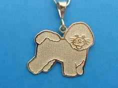 14k Solid Yellow Gold Bichon Frise Dog Pendant Charm   eBay