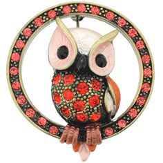 Hyacinth Owl Bird Pin