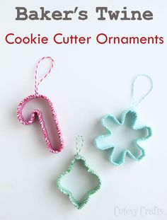 Christmas ornaments from cookie cutters wrapped in bakers twine! Get supplies at Flower Factory www.flowerfactory.com