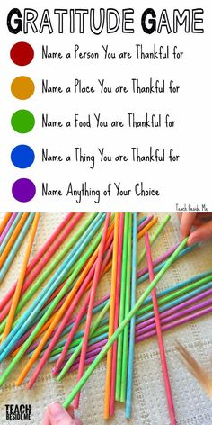 The Gratitude Game~ teach kids about gratitude with this fun and simple game of pick up sticks! Great for Thanksgiving or any time of year you want to count your blessings. Kids Sunday School Lessons, Bible Lessons For Kids, Sunday School Crafts, Thanksgiving Sunday School Lessons, Kids Bible, Primary Lessons, School Ideas, Thanksgiving Activities For Kids, Church Activities