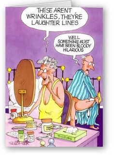 """Funny greetings card for any occasion illustrated with an optimistic old bird looking in the mirror at her dressing table """"These aren't wrinkles, they're laughter lines"""" """"Well, something must have been bloody hilarious"""" Funny Cartoon Pictures, Cartoon Jokes, Funny Cartoons, Funny Comics, Funny Greetings, Funny Greeting Cards, Funny Cards, Funny Postcards, Funny Quotes"""