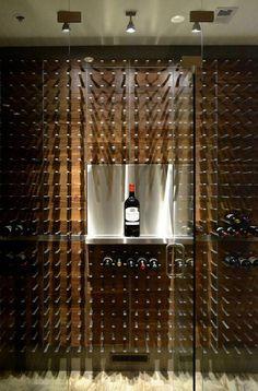 wine wall with custom magnum shelf #DuVino #wine www.vinoduvino.com #winebar Glass Wine Cellar, Home Wine Cellars, Wine Cellar Design, Wine Rack Wall, Wine Wall, Wine Racks, Wine Shelves, Wine Storage, Storage Cart