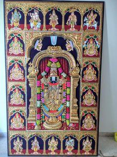 Mysore Painting, Tanjore Painting, Krishna Painting, Janmashtami Decoration, Pooja Room Door Design, Tent Decorations, Pooja Rooms, Lord Vishnu, Hindu Art