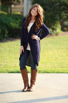 Totally Adorable!  To Be or Knot To Be Tunic - Navy | Hazel & Olive