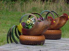 Hen On A Nest Tire Flower Planter Mothers Day (Centerton) $50