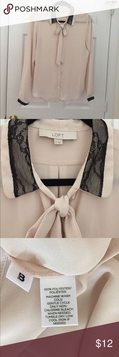 "Loft pale blush bow blouse with lace trim 20"" pit to pit.  25"" long from back neck LOFT Tops Blouses"