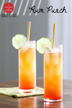 Ingredients:3 ounces of pineapple juice 2 ounces of orange juice 1 ounce dark rum, plus 1/2 ounce to splash on top 1 ounce coconut rum splash of grenadine lime slice for garnish Directions: www.inspiredbycharm.com