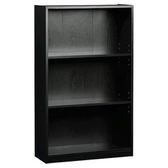 Clean lined and functional the Room Essentials?? 3-Shelf Bookcase in Black is the ideal basic bookshelf for your bedroom, office or dorm room. This black wood-look, 3-shelf bookcase features adjustable shelves that can be arranged to fit all your storage needs. Perfect for books, but it can also be used to display you favorite decor items or to store folded sweater or linens.